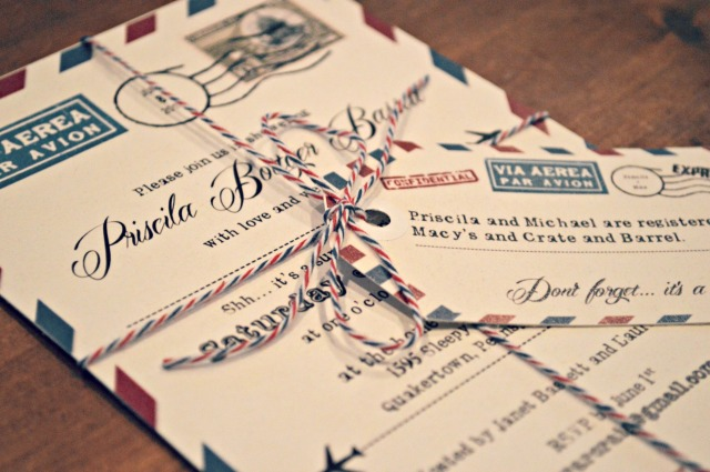 ... personalized invitation for our surprise, travel themed bridal shower