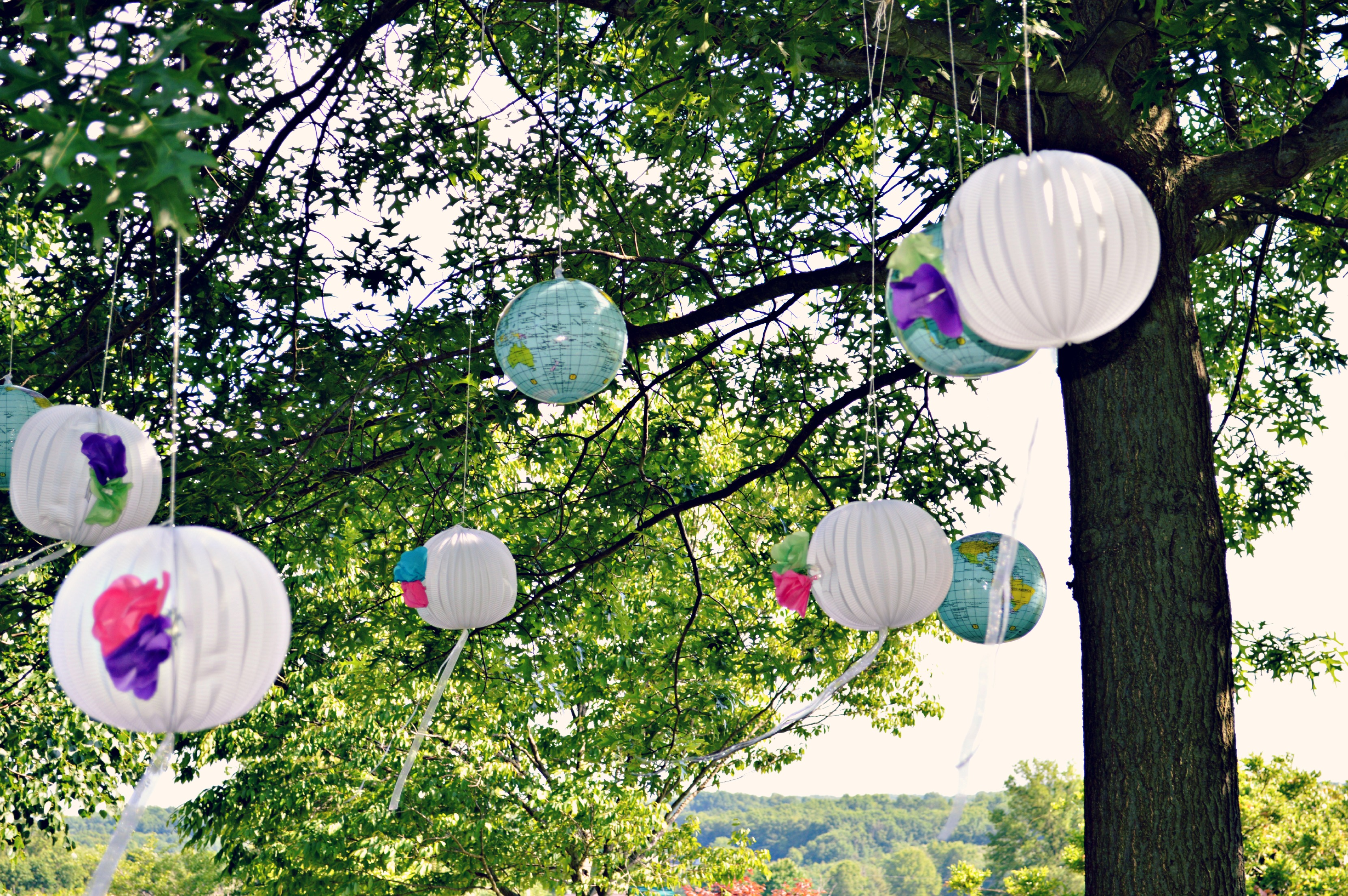Diy Shower Decor Hanging Globes Lanterns Tissue Paper Flowers Some Kind Of Lovely Ride